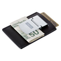 SPRING LOADED LEATHER MONEY CLIP